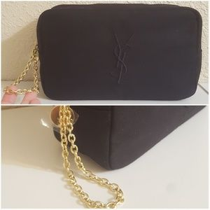 YSL Black Gold Chain Cosmetic Bag Case Travel NEW